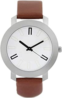 New Raiyaraj Embroidery Analogue White Dial Brown Leather Belt Men's Watch