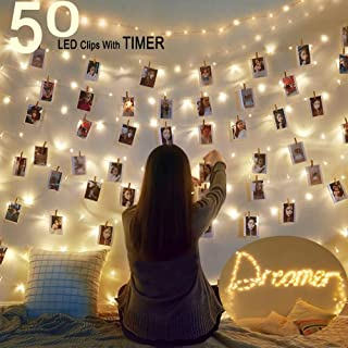 HOMECOR 50 LED Photo Clip String Lights Fairy Lights Battery Operated with Timer for Bedroom Patio Indoor Outdoor Christmas Party Decor Photographer Gifts (Warm White)