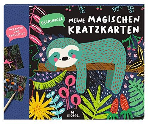Moses 3103 Meine magischen Kratzkarten Dschungel | 10 Kratzbilder mit Holzstift | Malset zum Basteln am Kindergeburtstag | Scratch Art | Für Kinder ab 4 Jahren, Bunt