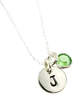 By Hannah Design Sterling Silver Tiny Initial Personalized Necklace