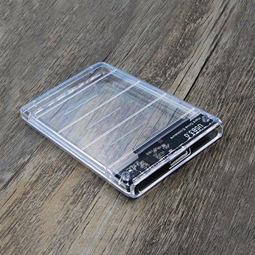 『透明な 2.5インチ HDDケース USB 3.0接続 SATA対応 HDD/SSD 外付け ドライブ ケース ネジ&工具不要 簡単着脱 Windows/Mac/Linux等適用』の5枚目の画像