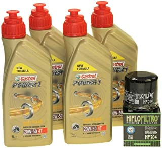 Juego de cambio de aceite 4litros Castrol SAE 20W-50Act Evo 4T mineral, incluye filtro de aceite HiFlo HF204para Triumph Suzuki Kawasaki Honda Harley Davidson