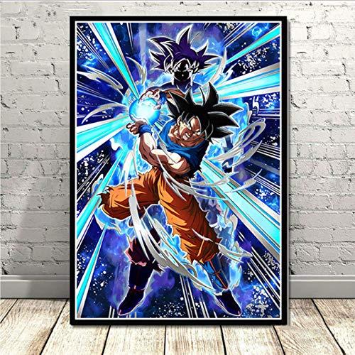 yhnjikl Affiche Et Gravures Nouveau Dragon Ball Z Super Goku Ultra Instinct Maîtrisé Anime Wall Art Peinture Mur Photos pour La Chambre Décor À La Maison 40X60Cm sans Cadre