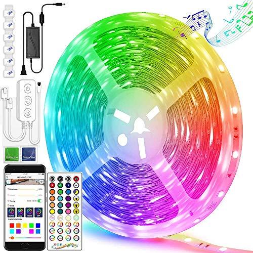 Creativity - Tira de luces LED Bluetooth de 10 m, tiras de luz RGB, sincronización de música, 5050 tiras de LED que cambian de color RGB con control remoto, 180 tiras de luces LED para dormitorio, TV