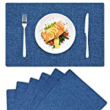 homing Navy Blue Cloth Placemats for Dining Table Set of 6 – Cotton Linen Blend Washable Farmhouse Kitchen Mats for Indoors & Outdoors - Easy to Clean 14 x 19 Inch