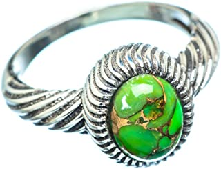 Green Copper Composite Turquoise Ring Size 7.75 (925 Sterling Silver) - Handmade Boho Vintage Jewelry RING955720