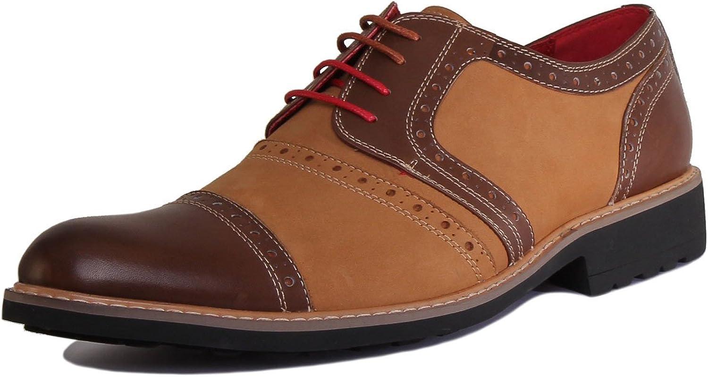 Justin Reece Hugo Men Leather Suede Brown Brogue shoes (10 UK, Brown)