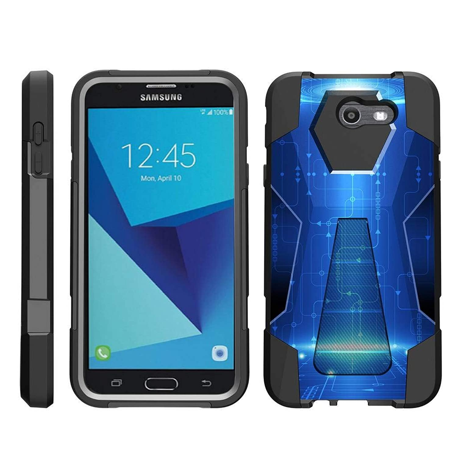 TurtleArmor | Compatible for Samsung Galaxy J7 2017 Case | J7 Prime | J7 Sky Pro [Dynamic Shell] Duo Protection Hybrid Case Impact Rubber Cover Hard Kickstand Cool Designs - Blue Technology