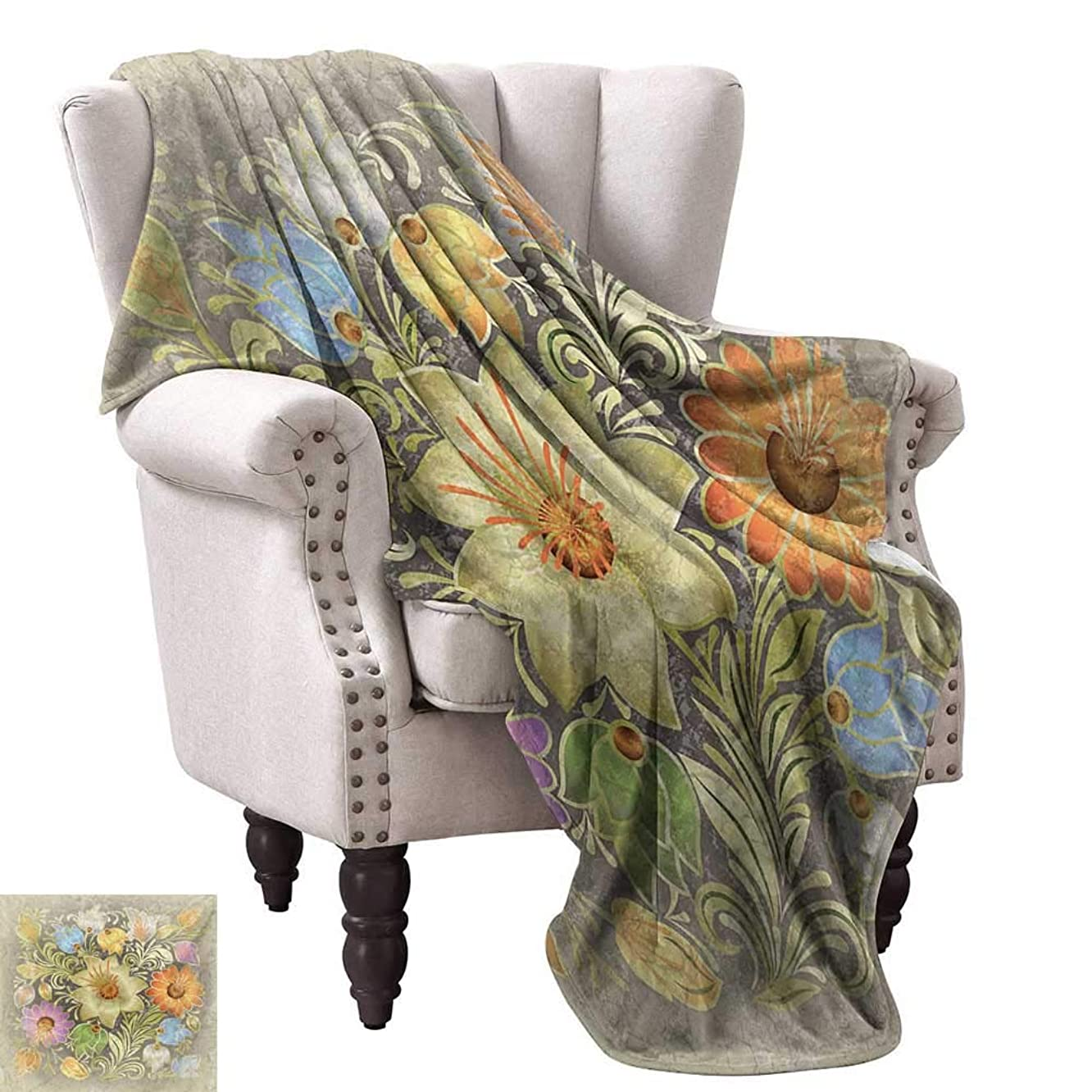 WinfreyDecor Grunge Reversible Blanket Ornate Aged Floral Bouquet Composition Over Antique Style Marble Setting Bohemian Print Traveling,Hiking,Camping,Full Queen,TV,Cabin 50