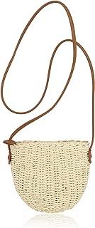 QTKJ Women Straw Zip Shoulder Bag Summer Beach Mini Crossbody Handbag with Leather Shoulder Strap (Beige)