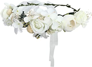 AWAYTR Bohemia Flower Crown Headband - Exquisite Pinecone Leaf Berry Flower Headband Flower Halo Wreath (white-1)