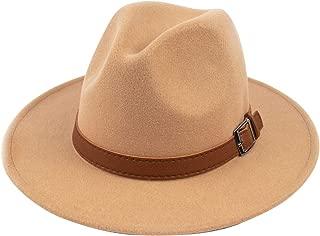 Womens Classic Wide Brim Floppy Panama Hat Belt Buckle Wool Fedora Hat