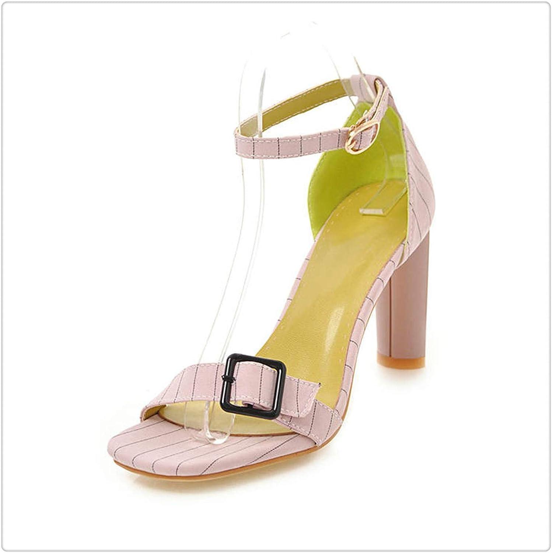 ZXCVB& Summer New Brand Elegant Buckle Sandals Women Big Size High Heels Date shoes