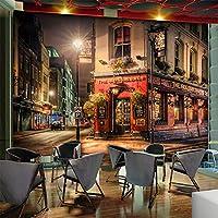 カスタマイズされた3D壁画都市の夜のシーン交差道路の壁紙バーカフェレストランの背景の壁の装飾写真現代美術-140X100CM