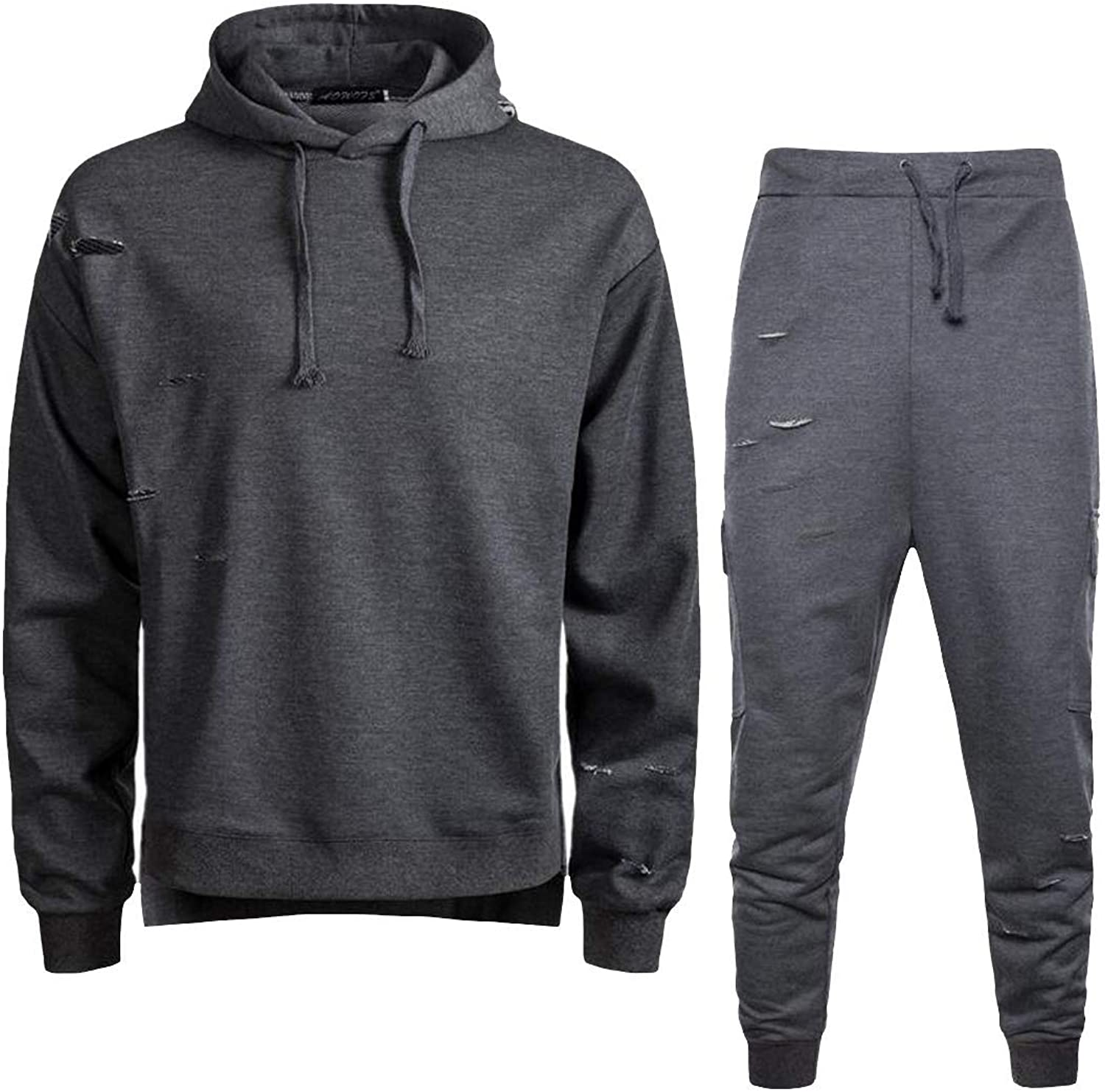Joe Wenko Men Pure color Hooded Two Pieces Sports Hole Sweatpants Big Tall Tracksuit Set