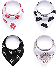 Baby Bandana Drool Bibs -Baby Saliva Towel AXZZO Teething and Drooling Boys and Girls Need It,Waterproof,Washable,Stain and Odor Resistant (4 Pieces)