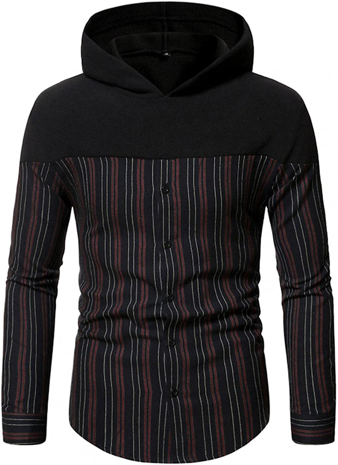 Aayomet Hoodies Sweatshirts for Men Patchwork Checked Button Casual Long Sleeve Hooded Pullover Tops Blouses Sweaters