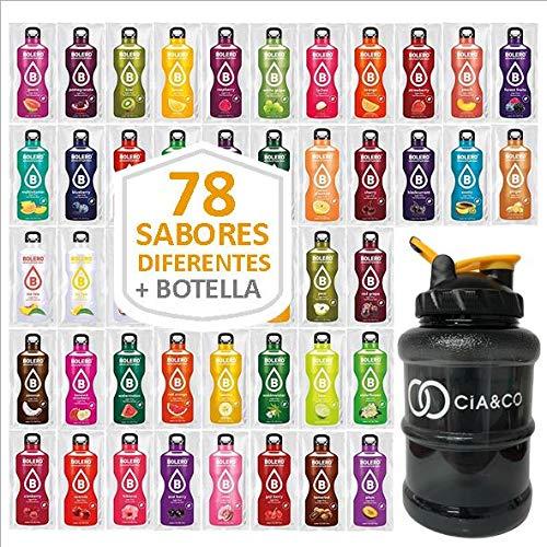 Pack 78 Sabores Bebidas Bolero Sin Azucar + Botella Limitada Cia&Co 1,5 Litros | Todos Los Sabores Diferentes | Todas las variantes | Incluye Botella de 1,5 Litros Especial para diluir cada Sabor