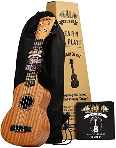 Official Kala Learn to Play Ukulele Soprano Starter Kit, Satin Mahogany – Includes online lessons, tuner app, and boo...