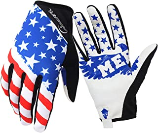 Bicycle Racing Mountain Bike Cycling Riding Flag Gloves Off-Road/Dirt Bike Gloves Motorcycles Recreation Full Finger Glove Outdoor Sport Glove.