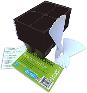 Large Cells, Seed Starter Trays, 2 Flats; (96 Cells), 10 Plant Labels and Quick Start Guide, Stage 1 by Coconut Oasis (24 Trays; 4-Cells Per Tray) Made in USA