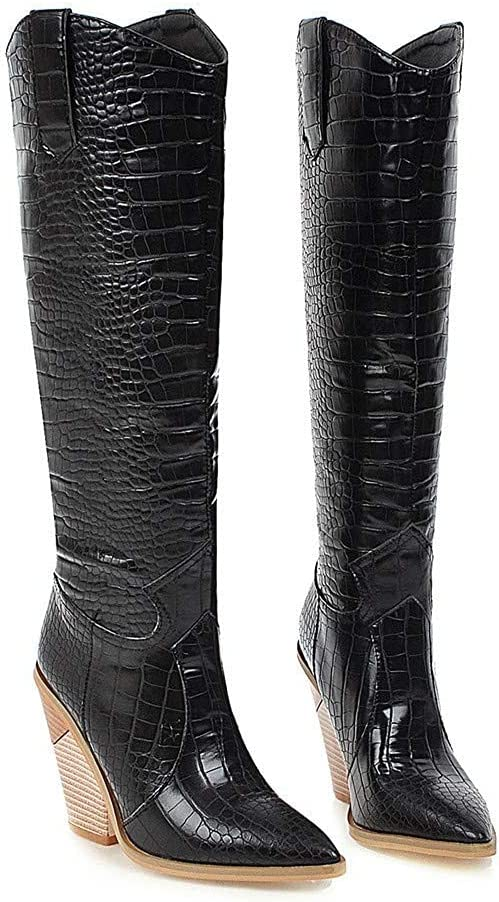 CLDREAM Women's Chunky High Heel Knee High Boots Western Leather Cowgirl Combat Booties Pull On Work Shoes