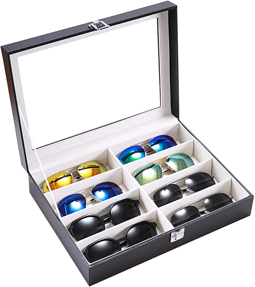 10 Slots Rectangle PU Leather Box Jewelry Display Showcase Organizer Holder