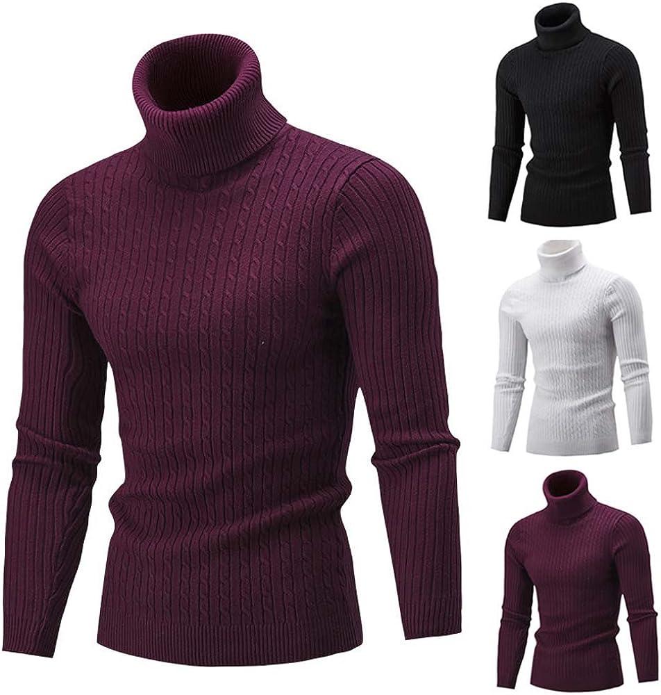 iLOOSKR Winter Warm Men Slim Turtleneck Knit Sweater Solid Striped Comfy Sweater Pullover Tops