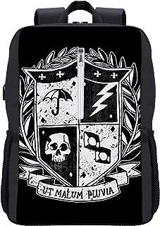 The Umbrella Academy - Mochila con escudo de la Academia para ordenador portátil, bolsa escolar con puerto de carga USB