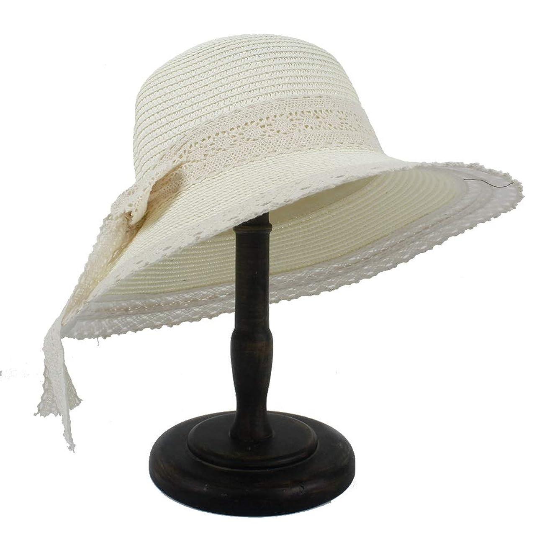炭水化物アクティブ車ファッションつばの女性が付いている女性のわら浜の日曜日の帽子女性のドームのバケツの太陽ボンネット 女性のファッション帽子 (色 : クリーム, サイズ : 56-58CM)