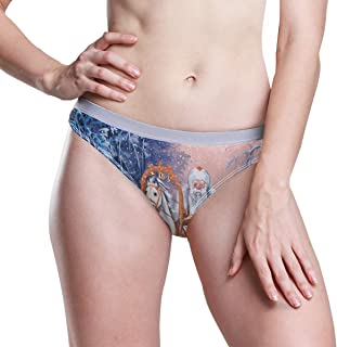 A Russian Triple of Horses with Santa Rides in Winter Forest Women's Thongs Breathable Panties Bikini Underwear