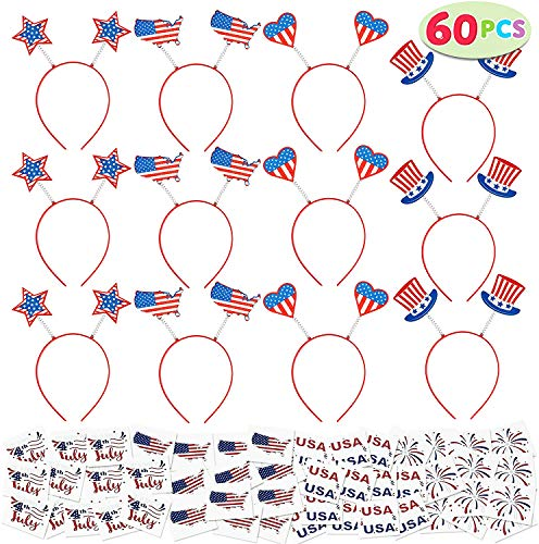 JOYIN 60 Pcs Patriotic Party Favor of 12 Headbands, and 48 Tattoo Stickers for 4th of July Celebration, Independence Day Gathering, Memorial Day Commemoration, Veterans Day Honoring, Patriotic Party Favors and Themed Party
