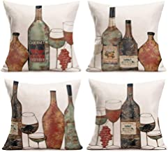 Smilyard Vintage Wine Throw Pillow Covers Cotton LinenWine Bottle Grapes Decorative Pillows Cover Cushion Cover Set of 4 Pillow Case Home Decor for Sofa Couch 18x18 Inch (Bottle 4PC)
