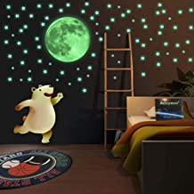 JCGJ Bright and Realistic Stars and Full Moon for Starry Sky Stickers. Luminous Moon Dots Stars Wall Ceiling Decal Murals. (435 Styles-1 Moon + 407 dots + 27 Stars)