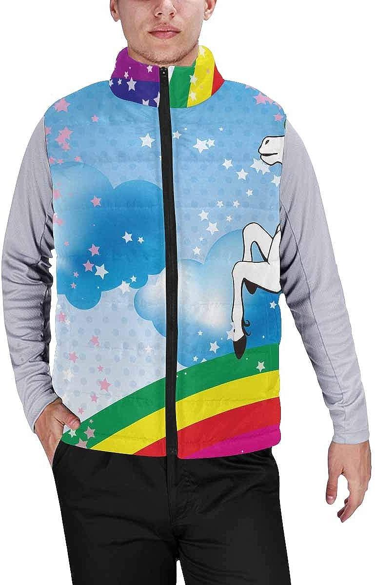 InterestPrint Warm Outdoor Sleeveless Stand Collar Vest for Men Unicorn with a Rainbow XXL