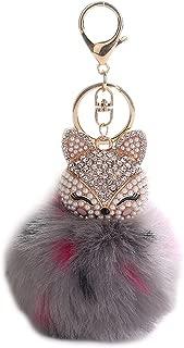 HXINFU Real Rabbit Fur Pom Pom Ball Keychain Fox Head Fluffy Ball Keychain