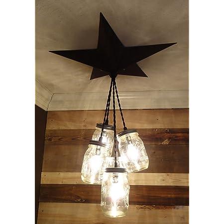 Hanging Mason Jar Pendant Light 8 cord length Barn Star Canopy