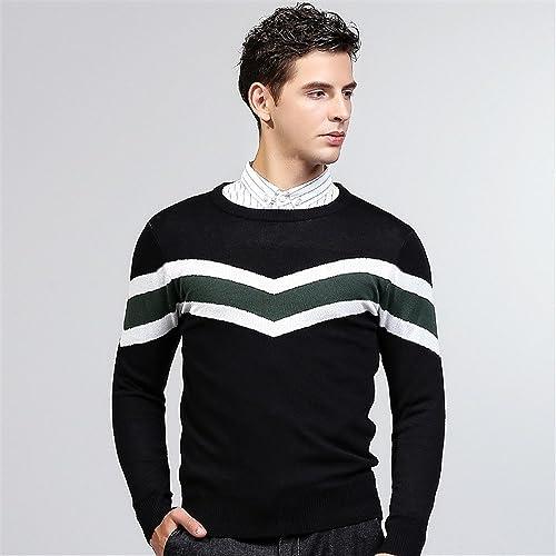 Jdfosvm la Chute de la Mode Masculine à Manches Longues Manches Longues Chandail de Coton Jeunes Pull Pull,noir,l