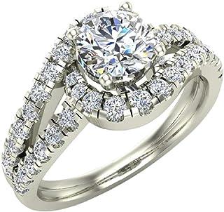 1.25 ctw Ocean Wave Style Split Shank Diamond Engagement Ring 14K Gold (I,I1)