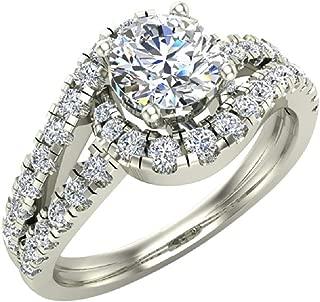 Diamond Engagement Rings for Women 1.25 ctw Ocean Wave Style Split Shank 14K Gold (I,I1)