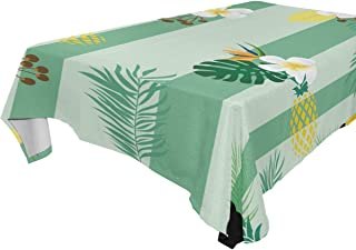 Modern Green Striped Pattern Toucans Floral Pineapples Foliage Table Cloth 60