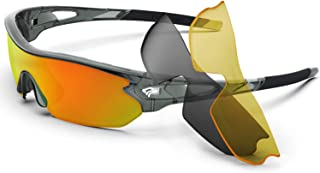 Polarized Sports Sunglasses With 3 Interchangeable Lenes for Men Women Cycling Running..
