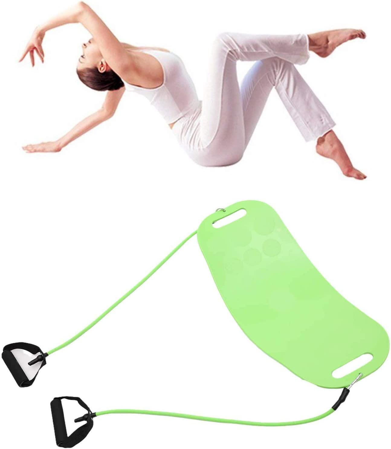 EMAIS Balance Board with Resistance Bands Ideal for Core Workout The Abs Legs Core Workout Yoga Board Fitness Board for Adults Ankle Workouts Dancers Balancing Exercises Gym Sports Ballet