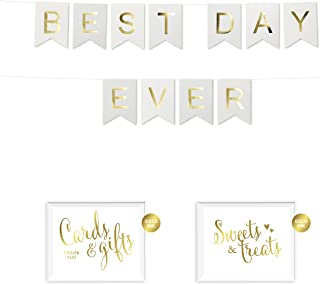 Andaz Press Shiny Gold Foil Paper Pennant Hanging Wedding Bridal Shower Banner with Gold Party Signs, Best Day Ever, White, Pre-Strung, No Assembly Required, 1-Set