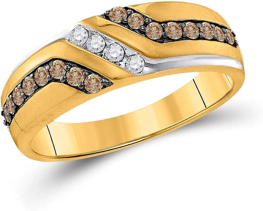 10kt Yellow Japan Maker New Regular store Gold Mens Round Diamond Anniversary Wedding Ba Brown