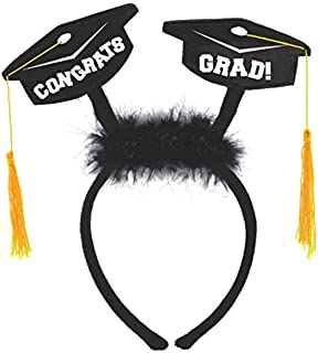 Amscan 310037 Grad Cap Head Bopper with Marabou Party Favor 1 Piece