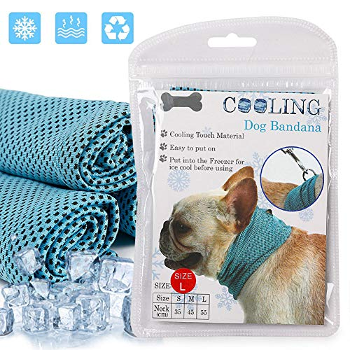 Dog Instant Cooling Bandana, Professional Pet Breathable Scarf Cats Ice Collar for Summer, Ice Towels for Frenchie Bulldog, Cooling Towel Wrap Dog Collar for Puppy with Leash Hole Blue Large 1pcs