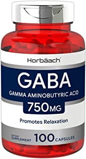 Horbaach GABA 750mg 100 Capsules | Non-GMO, Gluten Free | Gamma Aminobutyric Acid Supplement