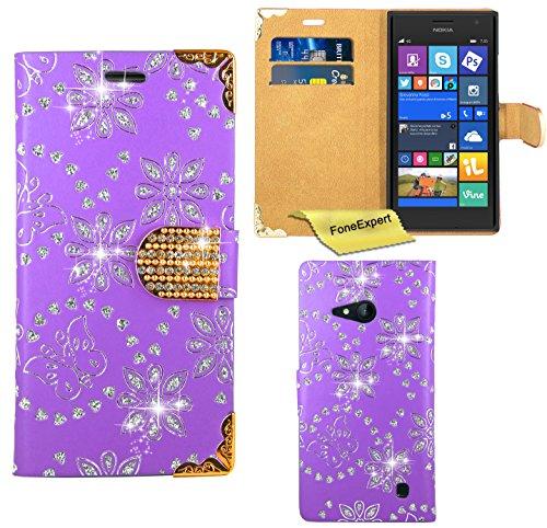 Nokia Lumia 730 735 Hülle, FoneExpert® Bling Luxus Diamant Hülle Wallet Hülle Cover Hüllen Etui Ledertasche Premium Lederhülle Schutzhülle für Nokia Lumia 730 735 + Bildschirmschutzfolie (Lila)