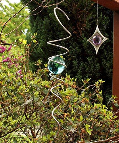 Edelstahl Kugelspirale -Feng Shui Spirale- mit 50mm massiver Farbglaskugel -Farbe wählbar-